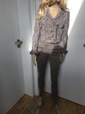 Biba Pantalón elástico marrón grisáceo-beige claro tejido mezclado