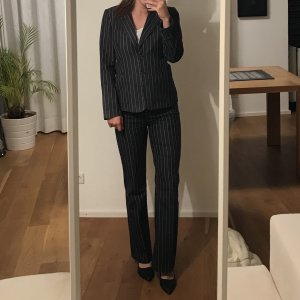 More & More Trouser Suit dark blue-white