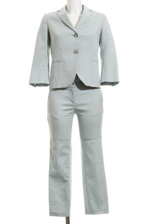 Tailleur pantalone bianco-blu pallido motivo a pallini stile professionale