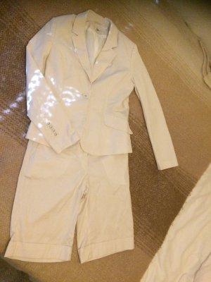 H&M Traje a rayas blanco-marrón claro