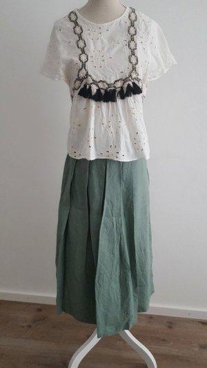 Zara Woman Pantalone culotte blu cadetto