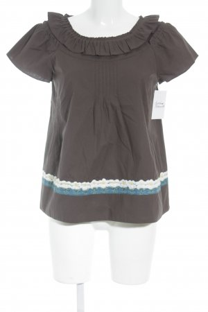 Hoss Intropia Short Sleeved Blouse dark brown casual look