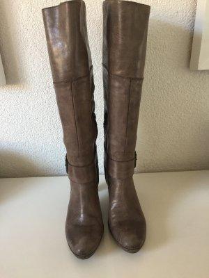 HOT Leder Stiefel Gr. 39 - Grau - Beige - TOP