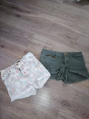 Tally Weijl Hot pants bianco-verde oliva