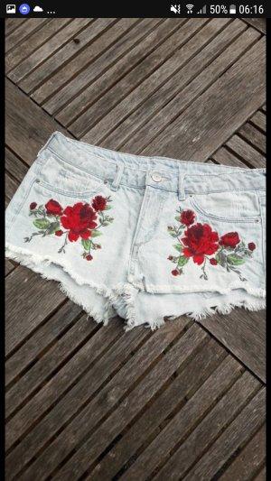 H&M Short moulant rouge foncé-bleu clair