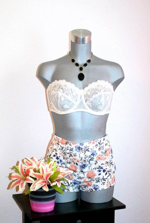 Hot Pant Gr. 36 Flower Short Nude Apricot Blau