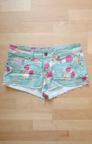 Hot Pants Shorts Blumen floral grün rosa nude orange 36 38