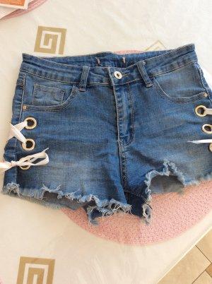 Zara Pantaloncino di jeans blu-bianco