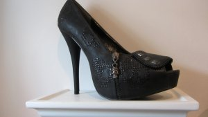 Hot Skully Highheel Peeptoes mit Nieten und Strass von Iron Fist
