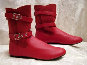 Hot Slouch Boots Flats Stiefelette 36 Rot Vario Schaft