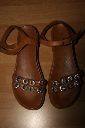 Hotic Plateausandalen Glitzersteine 38 Leder TOP!
