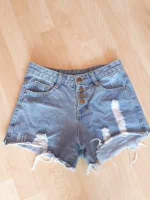 Romwe High-Waist-Shorts azure cotton