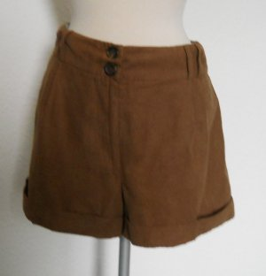 Hotpant Gr. 44 XL UK 16 braun Shorts kurze Hose Velourleder optik