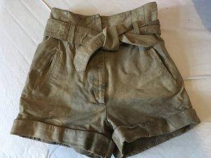 Hotpants echtleder XS Vila top Zustand taupe/Schlamm high waist
