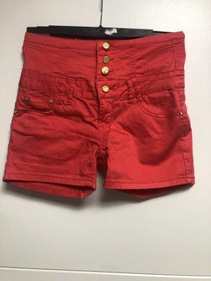 Short taille haute rouge-doré