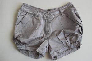 Hotpants kurze Pluder-Hose Pumphose Satin Silbergrau S