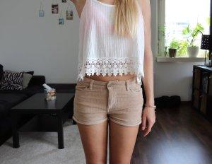 Hotpants mid waist Shorts kord beige Gr. 34 H&M