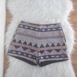 Hotpants Pailletten schwarz gold gr.38 - 40 Shorts kurze Hose Azteken Coachella