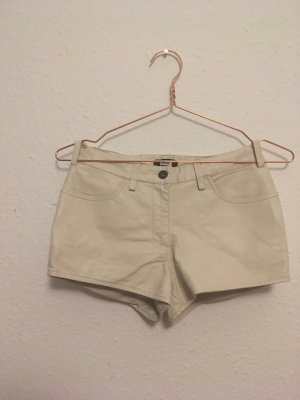 Hotpants Shorts Kunstleder Cremeweiß