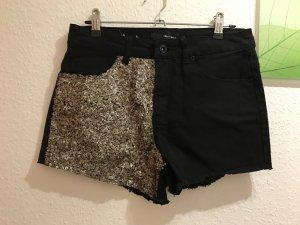 Hotpants Tally Weijl mit Pailletten in Gold schwarz Größe S 36