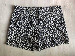 Hotpants Zara Basic Shorts Muster Vögel Spatzen Marine High Waist