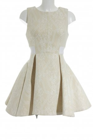 House of London A-Linien Kleid creme-weiß florales Muster Retro-Look