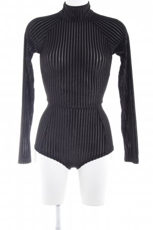 House of London Bodysuit Blouse black striped pattern elegant