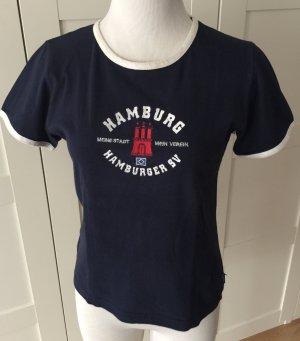 T-Shirt white-dark blue