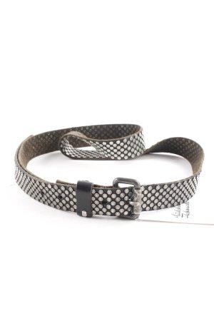 Htc Cintura di pelle marrone-nero-argento Stile ciclista