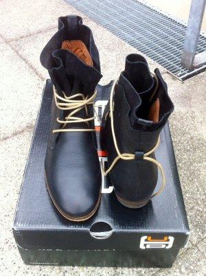 HUB - Leder-Stiefelette zum Schnüren *37* schwarz