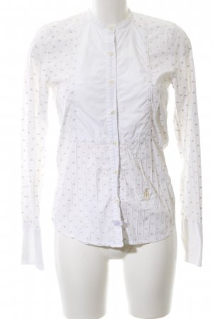 Huberman's Langarm-Bluse weiß-lila grafisches Muster Business-Look
