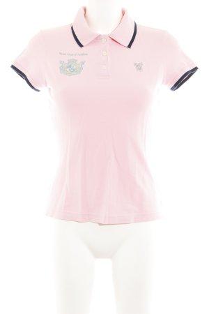 Huberman's Polo-Shirt rosa-dunkelblau Motivdruck Casual-Look