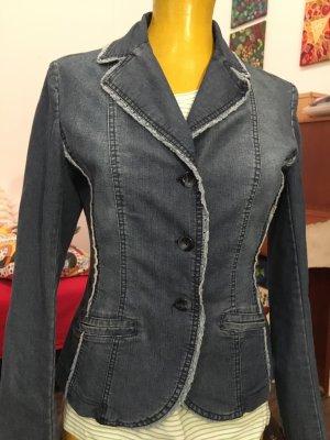 HUBERT GASSER Jeansjacke mit gehäkeltem Saum, Größe 40