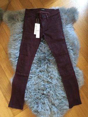 Hudson Jeans Lederhose Skinny Leather w24 XS 34 36 Lammleder Weinrot Burgundy