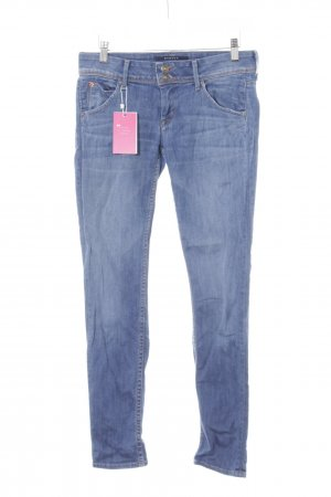 Hudson Slim Jeans stahlblau-kornblumenblau Street-Fashion-Look