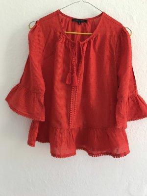 Tintoretto Camicetta con arricciature rosso mattone Cotone