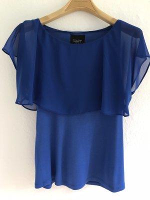 Zara Basic Camicetta con arricciature blu Viscosa
