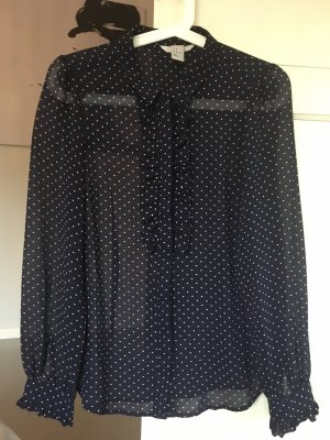 H&M Ruffled Blouse white-dark blue