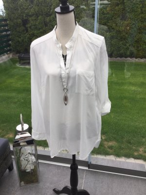 100% Fashion Stand-Up Collar Blouse white-natural white