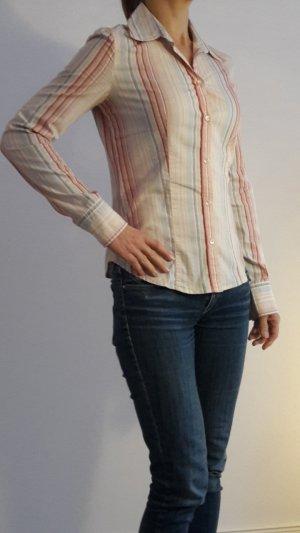 Hübsche bunt gestreifte rosa helblaue Langarm-Bluse von Calvin Klein  36