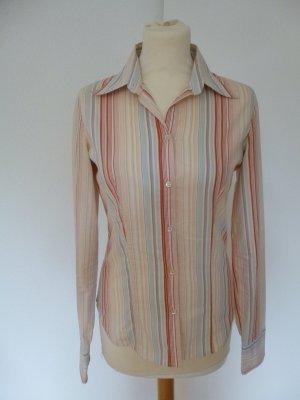 Hübsche bunt gestreifte rosa helblaue Langarm-Bluse von Calvin Klein M 36