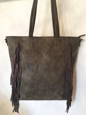 Fringed Bag green grey-grey brown imitation leather