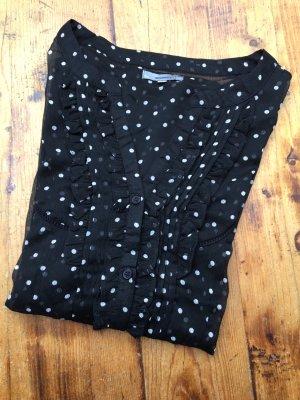 Hübsche gepunktete Bluse mit 3/4-Arm und kleiner Rüschenborde