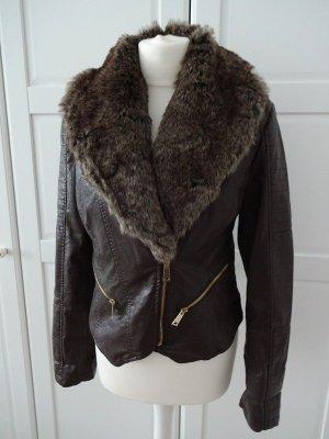hübsche Lederjacke mit fellkragen vintagebraun
