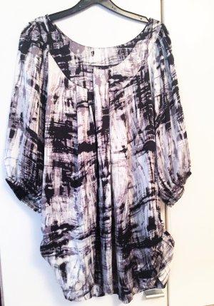 hübsche Satin-Bluse in schwarz-weiß