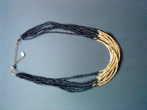 Pearl Necklace black-gold-colored synthetic material
