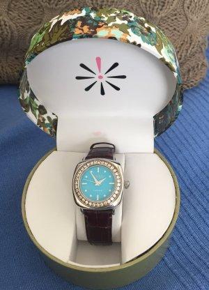 Hübsche Silber-Quartzuhr m. Echtleder-Armband und Geschenkbox - Ecclissi