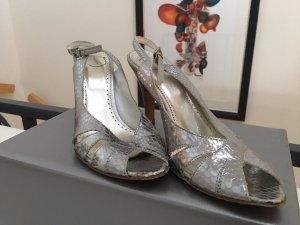 Hübsche silberne Sandaletten in Schlangen Optik