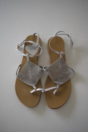Tosca blu Sandalo toe-post argento Pelle