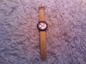 Watch With Leather Strap sage green-light orange synthetic material
